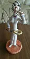 "Vtg 1972 ITALIAN CERAMIC POTTERY TENNIS PLAYER SCULPTURED FIGURINE SIGNED ""POLI"""