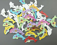 50X Cartoon dolphin shape 2 holes Wooden buttons sewing scrapbooking Crafts 30mm