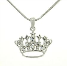 Crown W Swarovski Crystal Queen King Princess Pendant Necklace Jewelry