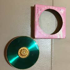 Vintage green enamel Margaret Rose convertible compact mirror puff sifter boxed