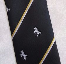 PRANCING ZEBRA TIE VINTAGE CLUB ASSOCIATION BLACK BY TUDOR TIES 1970s 1980s