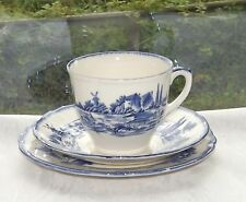Vintage Royal Doulton Norfolk Pattern D6294 Trio Cup Saucer Plate Blue & White