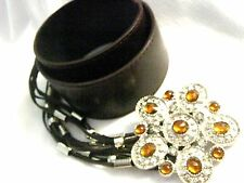 Brown mock leather Tassel belt Amber rhinestones Sparkle Bling Buckle gypsy O/S