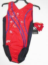 GK Elite Gymnastics Leotard Child Medium Midnight/Red/Ocean FREE SHIP!