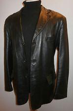 Burton Real Cuero Negro Caja Chaqueta Blazer de Abrigo de hombre talla XL