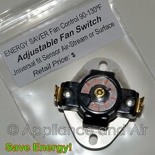 Adjustable Temperature Fireplace Wood Stove Blower Fan Thermostat Switch +Instr.