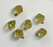 VINTAGE 6 WEST GERMANY BAROQUE NUGGET GLASS PENDANT BEADS GREEN GIVRE 10mm