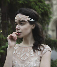 Vintage Flapper 1920s Pink Champagne Ivory Beaded Headpiece Headband Pearl M76