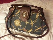 Vintage Steampunk nautical purse navy blue bag w/ gold hardware and brown straps