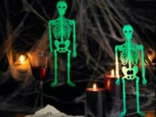 GLOW-IN-THE-DARK HALLOWEEN-DEKO SKELETT 32cm 4er Set Leuchtet giftgrün Helloween