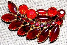 VINTAGE STUNNING SILVER TONE FACETED RED RUBY COLOR CRYSTAL LEAF PIN BROOCH