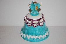 Vintage Hand Painted Italian Pottery Decorative Bell Italy Torquoise Purple
