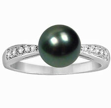 14K White Gold 8-9mm Cultured Tahitian Black Pearl Ring With 0.1ct Diamonds