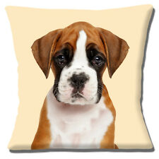 "Giovani BOXER PUPPY DOG 16 ""x16"" 40 CM Cuscino foto stampa Tan Brown White"