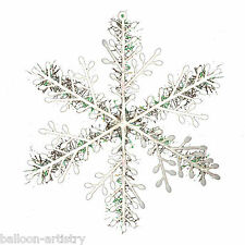 6 Christmas Hanging Iridescent Ice Tinsel Snowflakes Party Tree Decorations