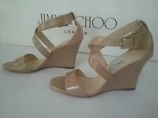 NEW JIMMY CHOO FEARNE SANDAL WEDGE PUMP NUDE PATENT LEATHER BEIGE Size  36.5 6.5