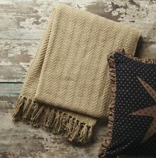 TAN BROWN WOVEN THROW : 100% COTTON COUNTRY TWILL WEAVE BLANKET