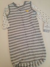 Carter's Baby Boys Gown Sack  Wearable Blanket Size 0-3 Months Grey Stars 2pc