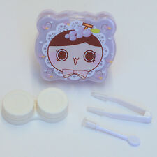 Purple Cute Cartoon Face Contact-Lens Case Holder w/ Mirror & Accessories Travel