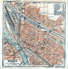 Antique map Mannheim / karte Baden-Württemberg plan 1929