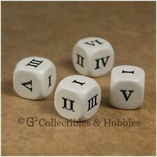 NEW Set of 4 Roman Numeral D6 Six Sided RPG D&D Game Dice 16mm Koplow
