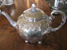 SILVER PLATED VICTORIAN TEAPOT.