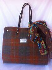 Orange brown Harris tweed bag tote gift for woman Scottish tartan handbag