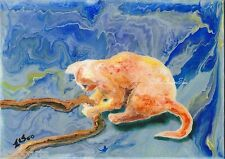Original Acrylic Abstract Painting of Kitty Cat Golden-1 Artist Signed 2000-Now