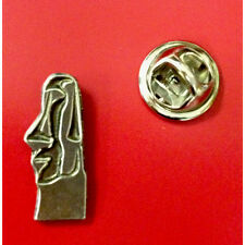 SM English Pewter Easter Island Moai statue head Pin Badge Tie Pin / Lapel Badge