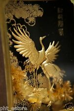 Oriental Chinese Handmade 24k Gold Foil Picture Cranes Table Decor Art Gift