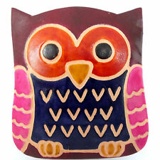 OWL BOX COIN PURSE. HANDMADE FAIR TRADE LEATHER MULTI COLOURED