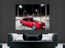 RED BMW CAR E34 POSTER VINTAGE 520I BRIDGE ART WALL LARGE IMAGE GIANT