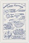 RECIPE FOR A HAPPY MARRIAGE Tea Towel. Natural/Navy. Wedding / Anniversary Gift.