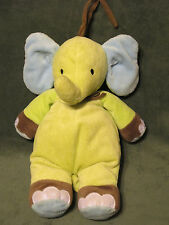 Carter's Plush Elephant Musical Crib Pull Baby Toy Green Blue Brown Rock a Bye