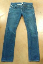 RRL Dark Selvedge Red Line Button Fly Slim Fit B Denim Jeans Size 30 x 32 $490