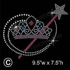 Tiara/Crown and Wand Rhinestone/Diamante Transfer Hotfix Iron on Motif Appliqué