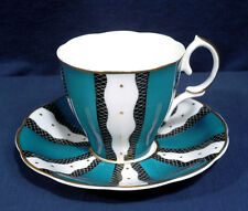 Rare Susie Cooper China Art Deco Blue-Green Black White Bands Cup and + Saucer