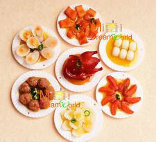 Toy Dollhouse Miniature Dinning 3pcs big dishes of food fruit