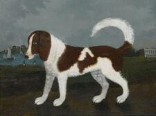 AMERICAN SCHOOL, 19TH CENTURY | Portrait of a Dog with a Greek Temple and Boa...
