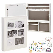 White Wooden Home Hanging Jewellery Cabinet Storage Organiser Box w/Photo Frame
