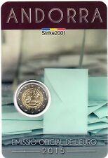 NEW !! Coin Card 2 EURO COMMEMORATIVO ANDORRA 2015 Maggiore Età Diritti Politici