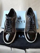 NIB Lanvin Low Top Leather Suede Patent Sneakers 9 UK 10 US Lace Up Black Gray