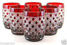 AJKA HI-BALL WHISKEY ROCKS GLASSES RUSSIAN COURT ATHENEE, RED CASED CRYSTAL