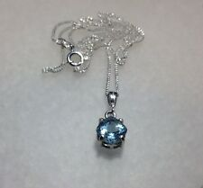 """925 Sterling Silver Cushion Cut Sky Blue Topaz Pendant Necklace 18"""" 2.40CT"""