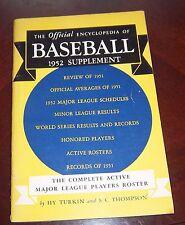 The Offical Encylopedia of Baseball 1952 supplement