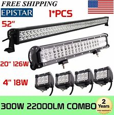 "52Inch LED Light Bar Combo + 20in +4"" CREE PODS OFFROAD SUV 4WD ATV FORD JEEP 50"