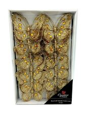 Tray of 12 Gold 8cm Clip-On Jewelled & Glitter Butterflies
