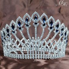 "Stunning Full Round Tiara 5"" Blue Rhinestone Crown Wedding Bridal Pageant Party"