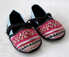 Really Cute! Akha Hill Tribe Cotton Baby Bell Shoes HANDMADE 4.5 inch