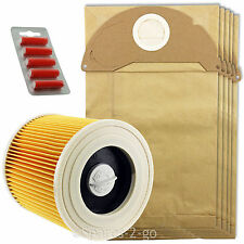 5 x Wet & Dry A2074PT WD2.200 Bags & Filter for Karcher Vacuum + Fresh